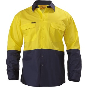 2 Tone Hi Vis Cool Lightweight Drill Shirt - L/S