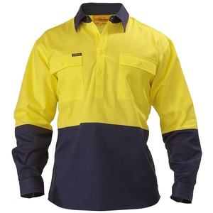 2 Tone Closed Front Hi Vis Drill Shirt - Long Slee