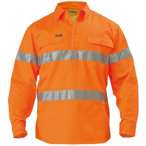 Hi Vis Closed Front Drill Shirt - 3M Reflective Ta