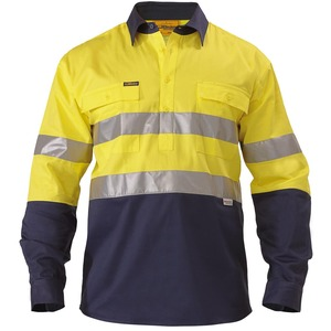 2 Tone Closed Front Hi Vis Drill Shirt -3M Reflect