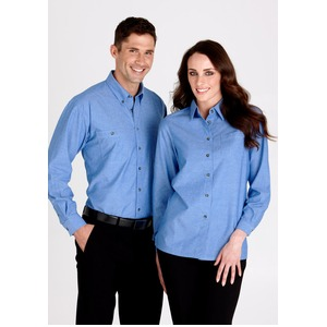 Wrinkle Free Chambray Ladies L/S Shirt